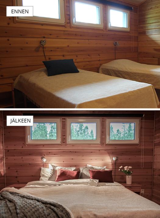 ennen-jälkeen-makuuhuone2-rukavuosselinkartano